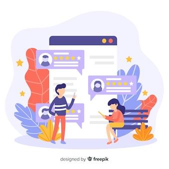 Concetto di recensioni per la pagina di destinazione