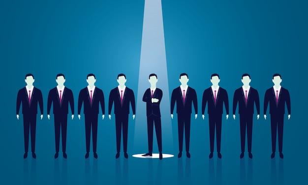 Concetto di reclutamento di affari che seleziona uomo d'affari
