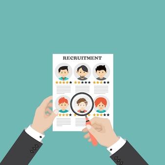 Concetto di reclutamento, risorsa umana, illustrazione