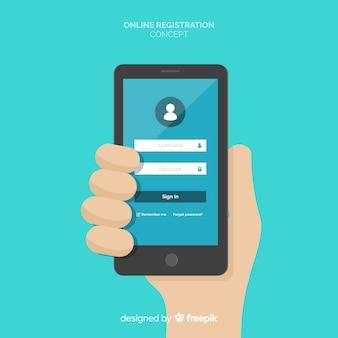 Concetto di registrazione online con design piatto