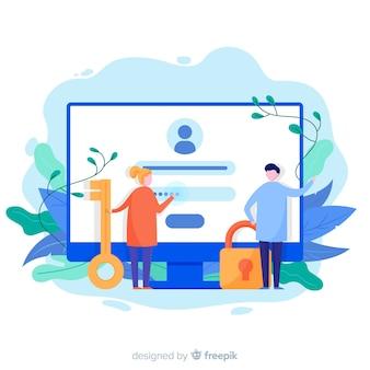Concetto di registrazione online