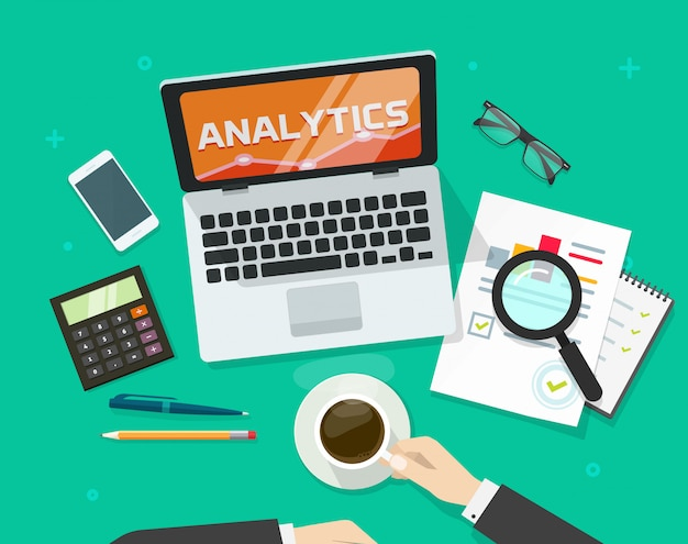 Concetto di relazione di controllo finanziario o ricerca di dati di contabilità sul fumetto piano dell'illustrazione di vettore di vista superiore del piano d'appoggio del posto di lavoro del computer