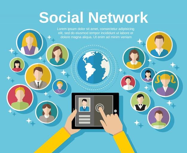 Concetto di rete sociale media con mano umana con avatars tavoletta e globo su sfondo illustrazione vettoriale