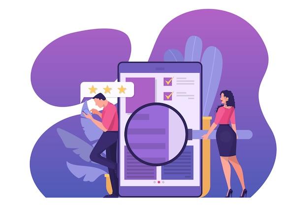 Concetto di revisione online. le persone lasciano feedback, positivi e negativi