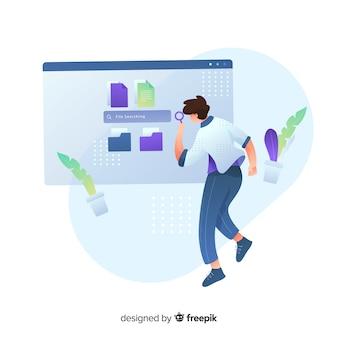 Concetto di ricerca cartella per landing page