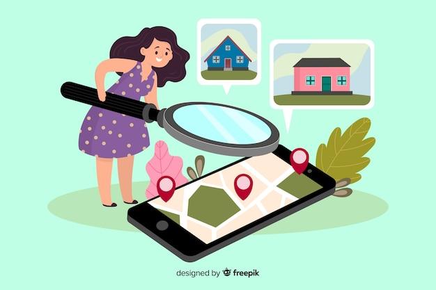 Concetto di ricerca della casa della pagina di destinazione
