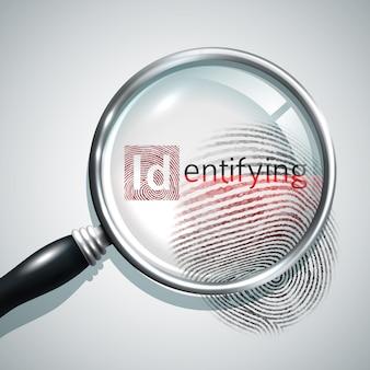 Concetto di ricerca delle impronte digitali