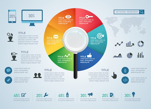 Concetto di ricerca di parole chiave ed elemento per infografica