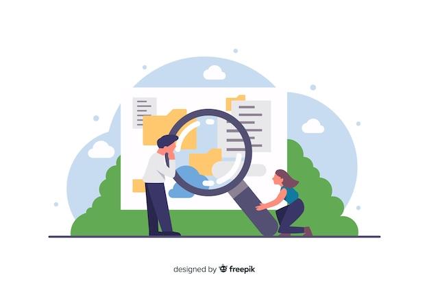 Concetto di ricerca piatta per landing page