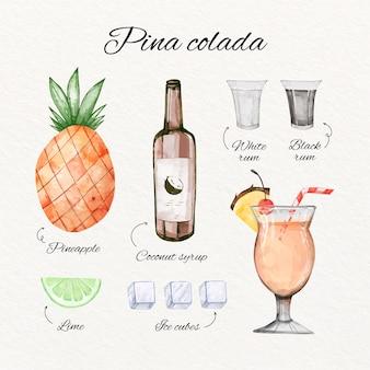 Concetto di ricetta dell'acquerello pina colada