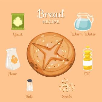 Concetto di ricetta di pane fatto in casa