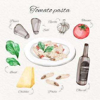 Concetto di ricetta di pasta di pomodoro dell'acquerello