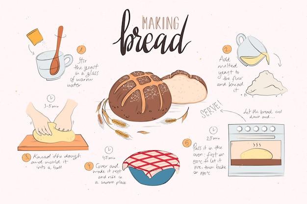 Concetto di ricetta disegnata a mano