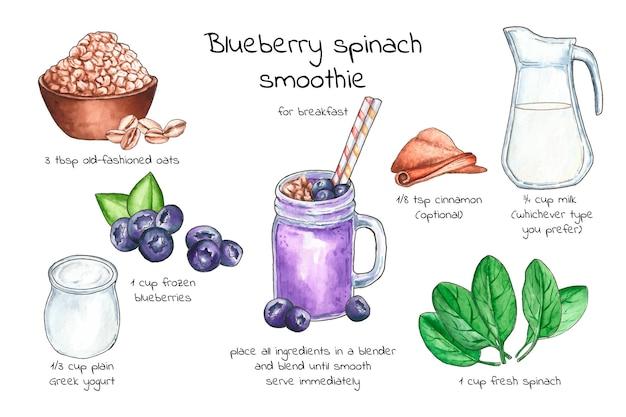 Concetto di ricetta frullato sano