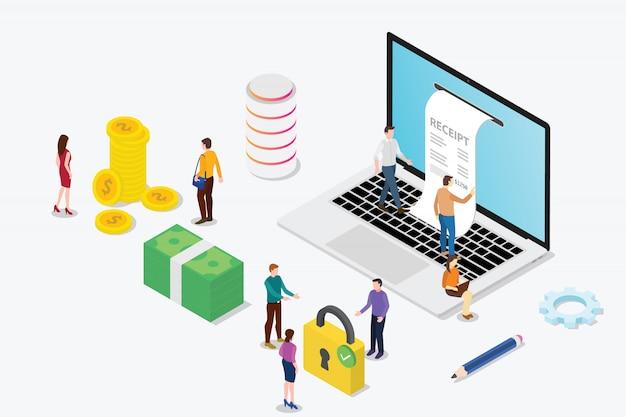 Concetto di ricevuta elettronica isometrica con squadra di computer portatile e persone