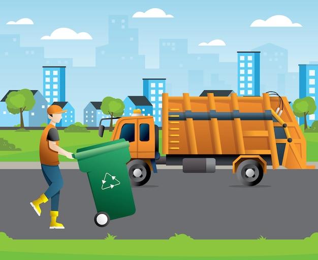 Concetto di riciclaggio dei rifiuti della città con camion della spazzatura e bidone della spazzatura