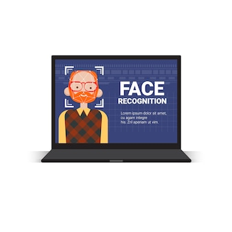 Concetto di riconoscimento biometrico del sistema di controllo di accesso della tecnologia di identificazione del fronte dell'uomo del computer portatile di esame del computer portatile