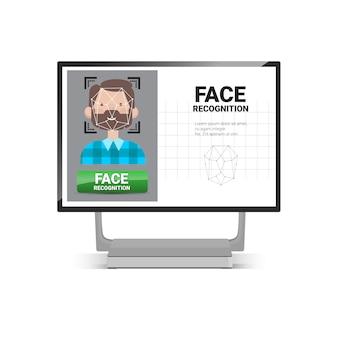 Concetto di riconoscimento biometrico del sistema di controllo di accesso di tecnologia di identificazione di fronte del maschio dell'utente di esame del computer