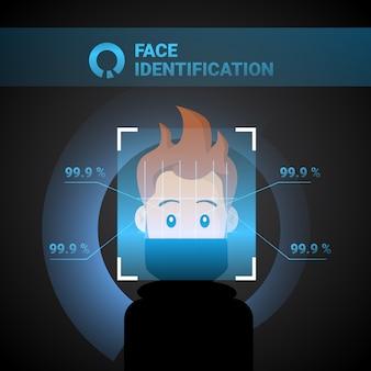 Concetto di riconoscimento biometrico di tecnologia di controllo di accesso dell'uomo di scansione del sistema di identificazione del viso