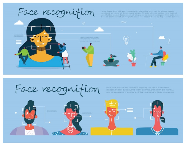 Concetto di riconoscimento facciale. face id, sistema di riconoscimento facciale con sistema di apprendimento intellettuale. elementi grafici di design piatto.