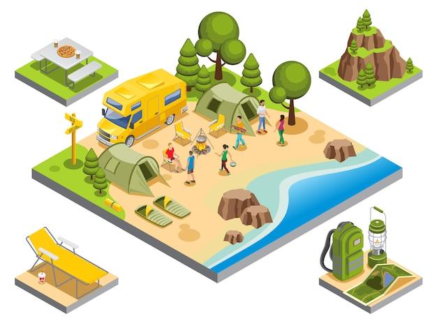 Concetto di ricreazione all'aperto isometrica con gli accessori di campeggio degli oggetti del bus di viaggio dei turisti