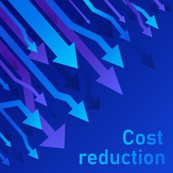 Concetto di riduzione dei costi. il business ha perso il calo delle crisi diagramma del mercato finanziario azionario. illustrazione al tratto sottile di idea di conversione di vendite. sfondo blu (viola)