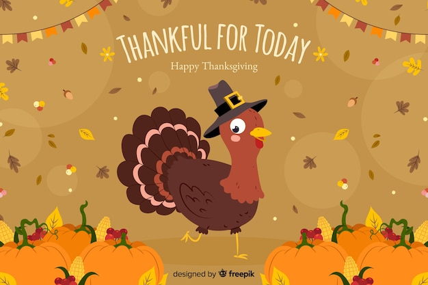Concetto di ringraziamento con sfondo disegnato a mano