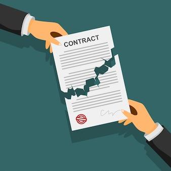 Concetto di risoluzione del contratto. mani dell'uomo d'affari che strappano un contratto.