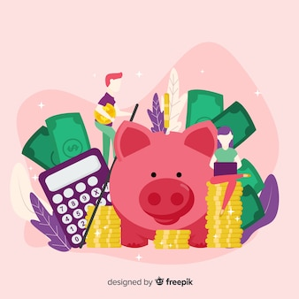 Concetto di risparmio di denaro colorato