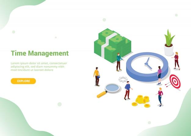 Concetto di risparmio di gestione del tempo per la homepage di atterraggio del modello di sito web