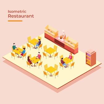 Concetto di ristorante isometrico