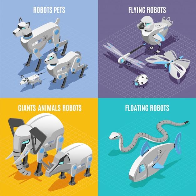 Concetto di robot animali 4 icone colorate isometriche quadrate con serpente di pesce insetti animali automatizzati