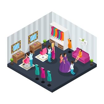 Concetto di sala trucco isometrica con cassettiere che vestono gli attori per le riprese di film