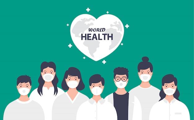 Concetto di salute di persone che indossano maschere mediche