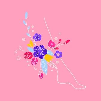 Concetto di salute femminile. il concetto di trattamento per le vene varicose, le gambe femminili sane, il concetto di uno striscione per la depilazione, lo zucchero. illustrazione delle gambe femminili con fiori e foglie.