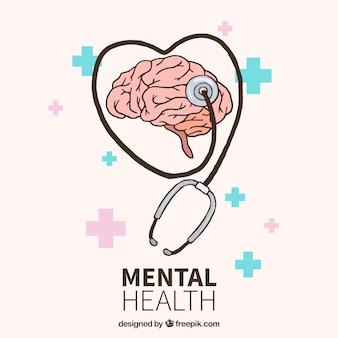 Concetto di salute mentale disegnato a mano
