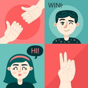 Concetto di saluti senza contatto