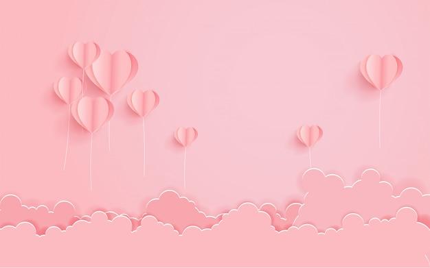 Concetto di san valentino con forma di cuore di mongolfiera.