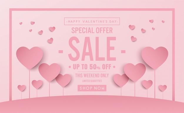 Concetto di san valentino scossa vendita banner design vettoriale