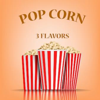 Concetto di sapori di popcorn, stile realistico