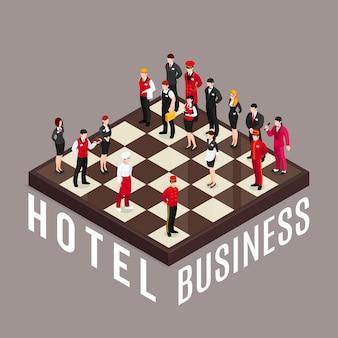 Concetto di scacchi di affari dell'hotel