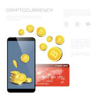 Concetto di scambio bitcoin smart phone con l'acquisto di carta di credito di monete elettroniche virtuali digitali