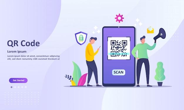 Concetto di scansione del codice qr con codice di scansione delle persone tramite smartphone