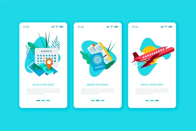 Concetto di schermate delle app di viaggio