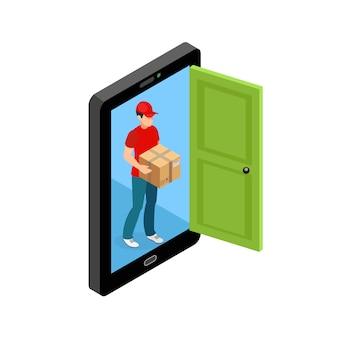 Concetto di schermo porta consegna