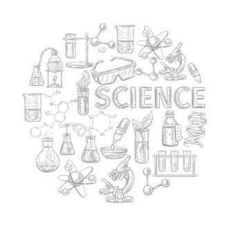 Concetto di schizzo di chimica con simboli di apprendimento e scienza di scuola