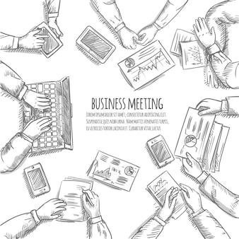 Concetto di schizzo di riunione d'affari con le mani umane di vista superiore con gli oggetti dell'ufficio