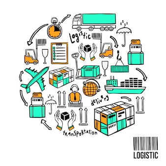 Concetto di schizzo logistico