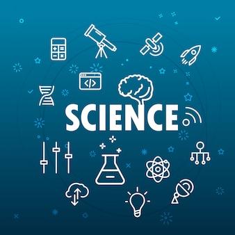 Concetto di scienza icone differenti della linea sottile incluse