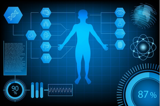 Concetto di scienza tecnologia futuristica astratta umana e mondo